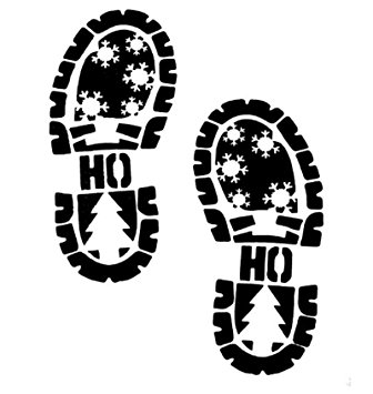 336x355 Santa Claus Father Christmas Footprint Footsteps Boot Stencil