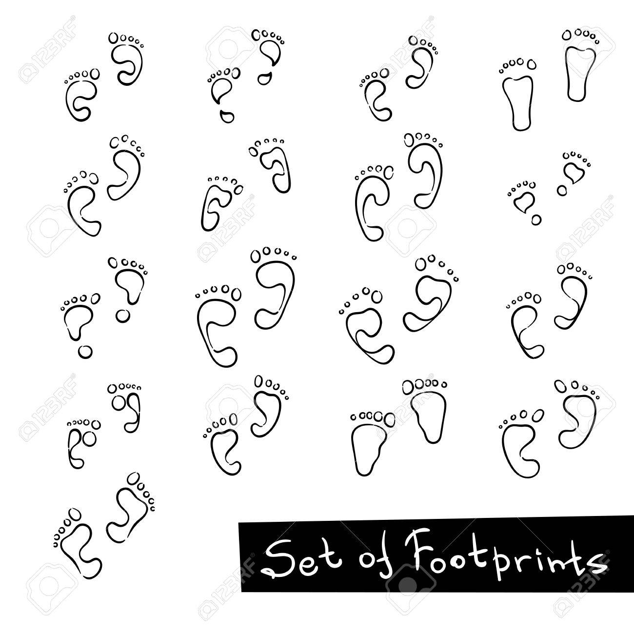 1300x1300 Set Of Footprint Doodle Icons, Human Footstep. Vector Collection