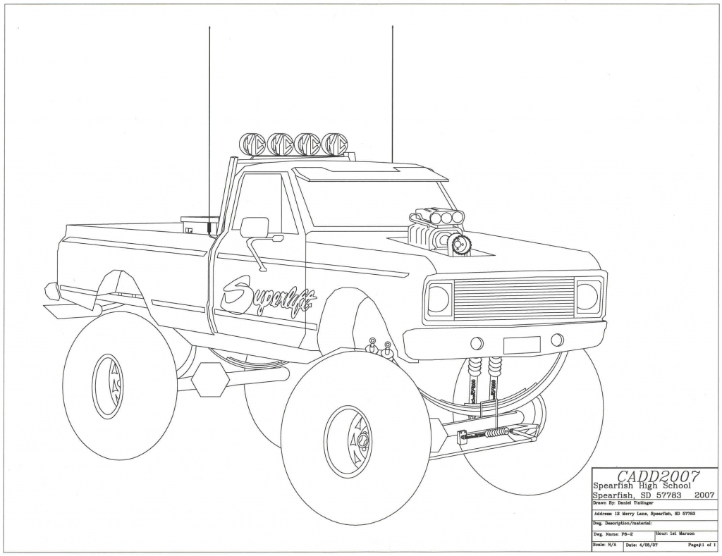 1024x789 Drawing Of Trucks How To Draw An F 150 Ford Pickup Truck Step Step