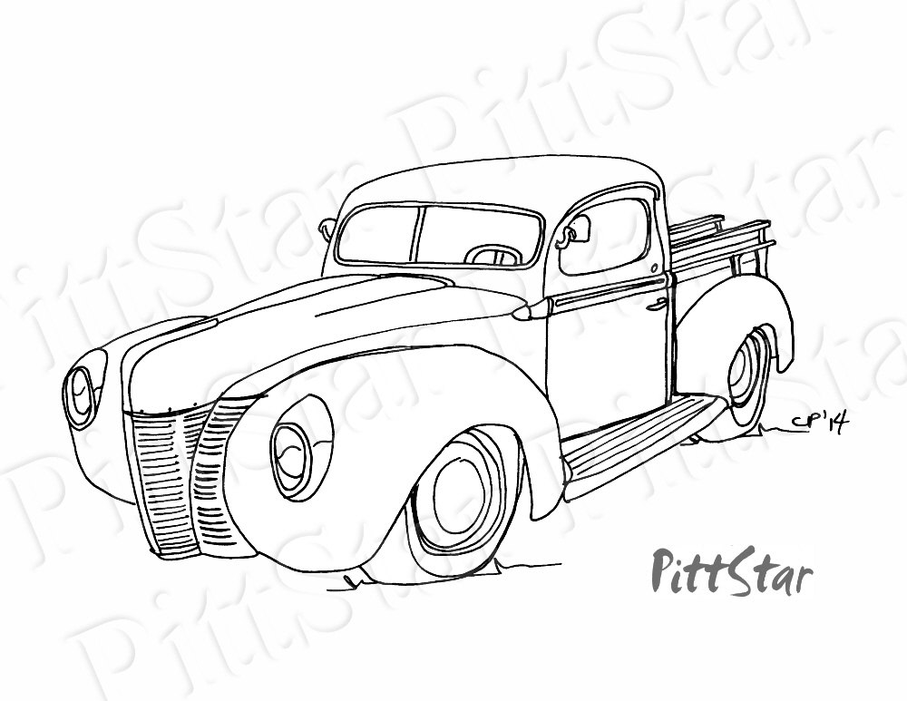 1000x773 Instant Download Vintage 1940's Ford Pickup Truck