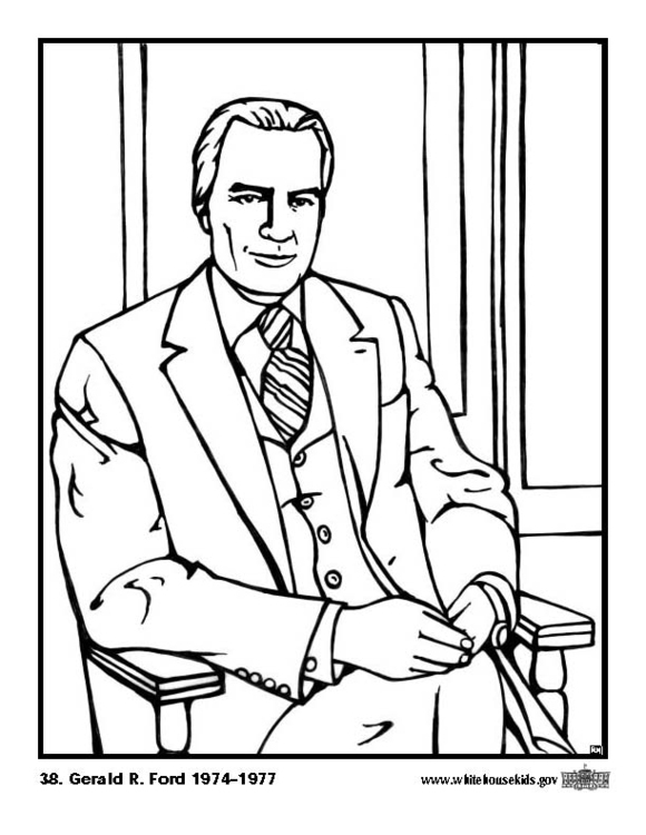 580x750 Coloring Page 38 Gerald R. Ford