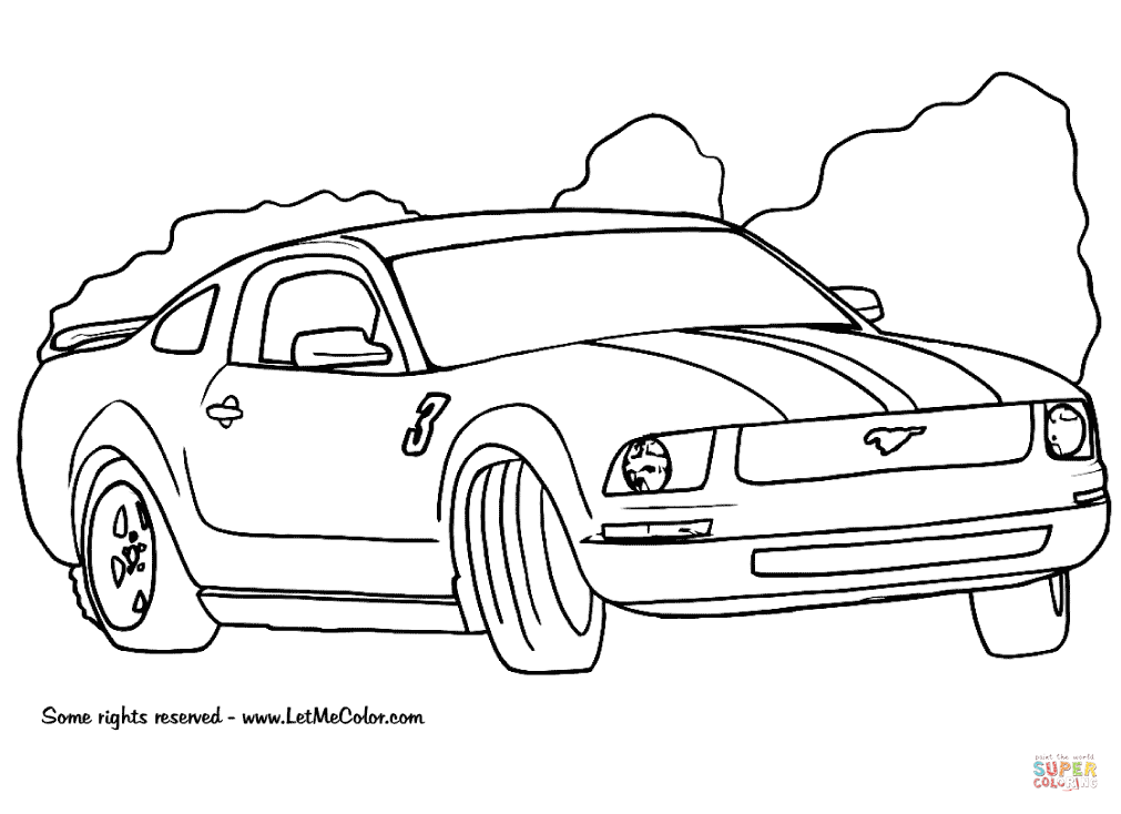 1011x734 Ford Mustang Coloring Page Free Printable Pages