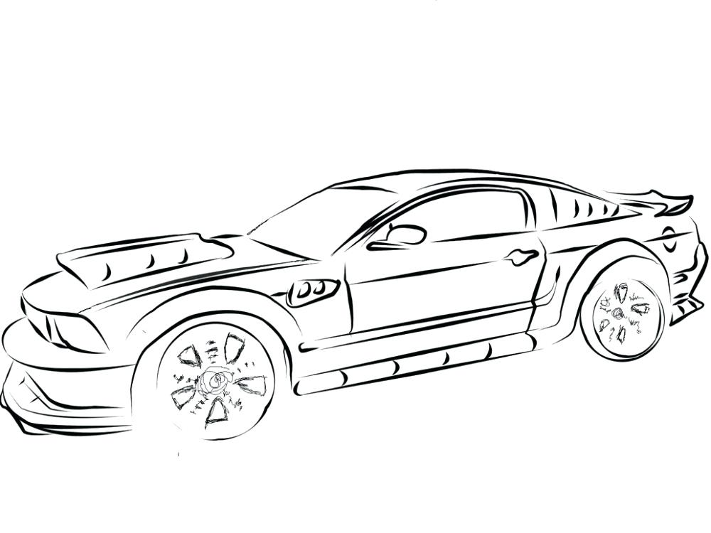 1000x750 Mustang Car Coloring Pages Car Coloring Pages Drawing Mustang
