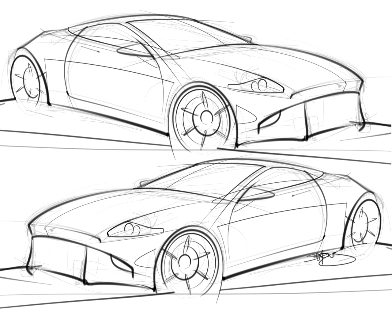 1280x1031 Car Sketches Scottdesigner