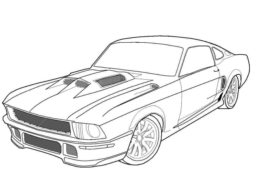 1024x768 Ford Mustang Street Car Coloring Pages Free Cars Coloring 14752