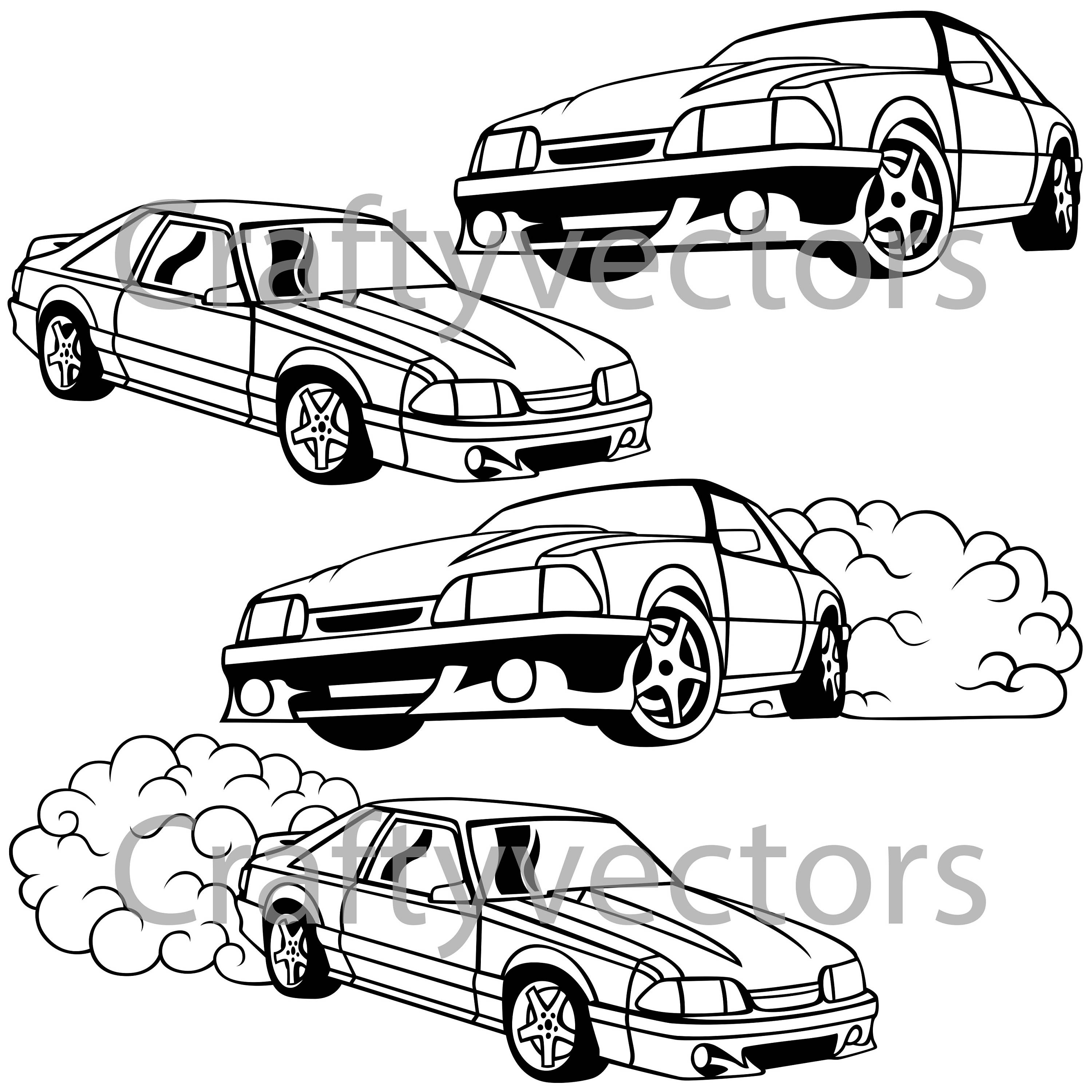3000x3000 Ford Mustang Fox Body Vector Svg Cut File