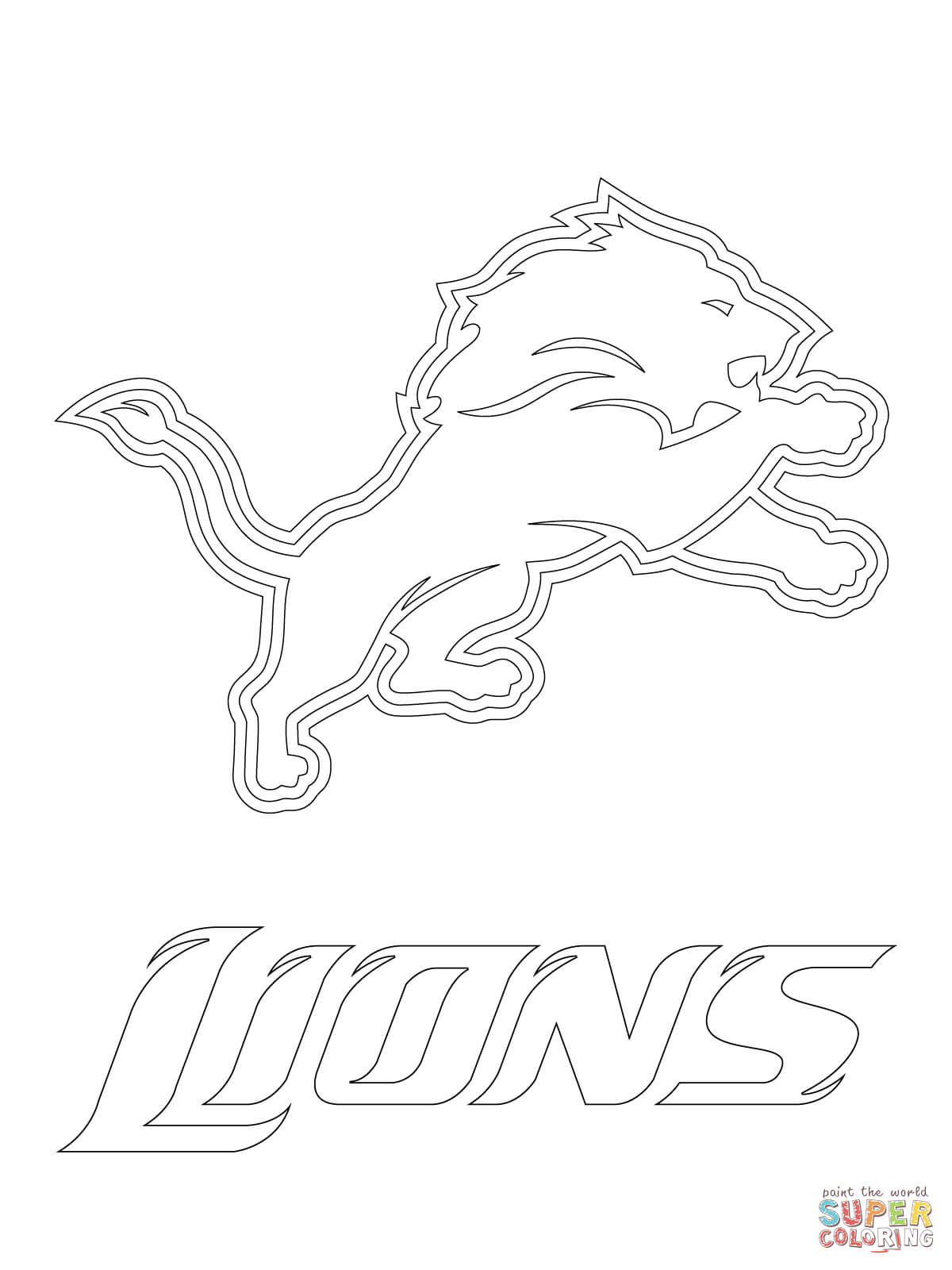 1200x1600 Detroit Lions Logo Coloring Page Free Printable Coloring Pages