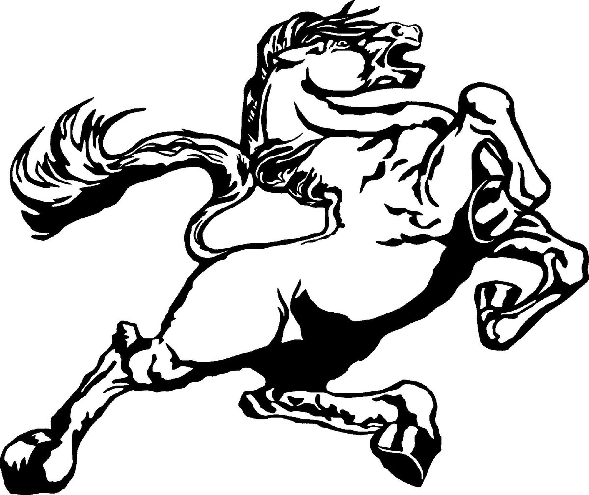 This is a graphic of Fan Mustang Logo Drawing
