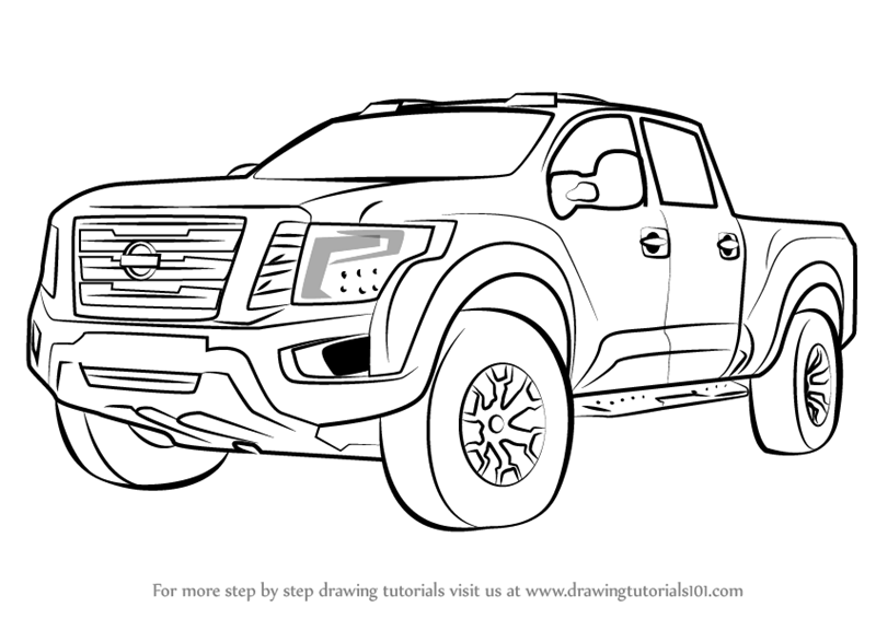 800x566 Learn How To Draw Nissan Titan Warrior Truck (Trucks) Step By Step