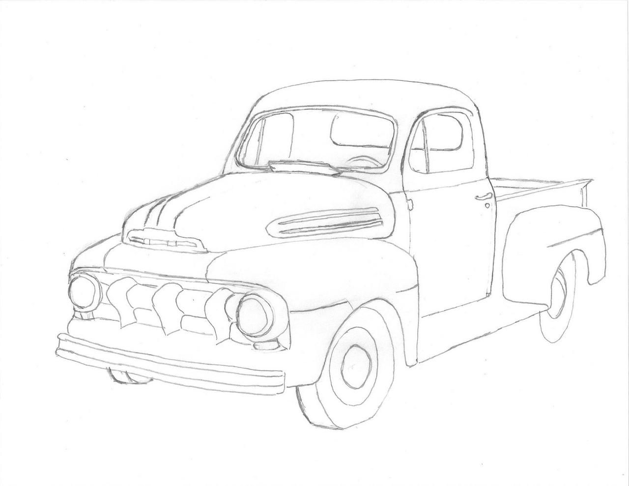 Ford Truck Drawing At Free For Personal Use 1951 1953 F1 Pickup 1280x989 A Of 49