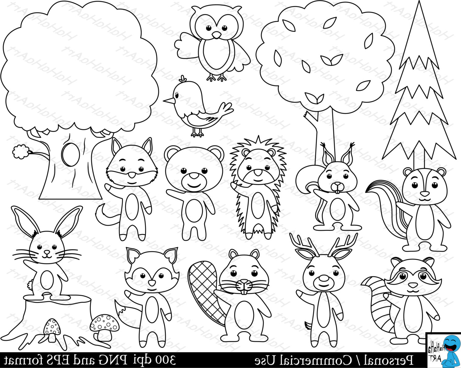 1500x1198 Forest Animals Drawing Arts Outline Forest Animals Set Clipart