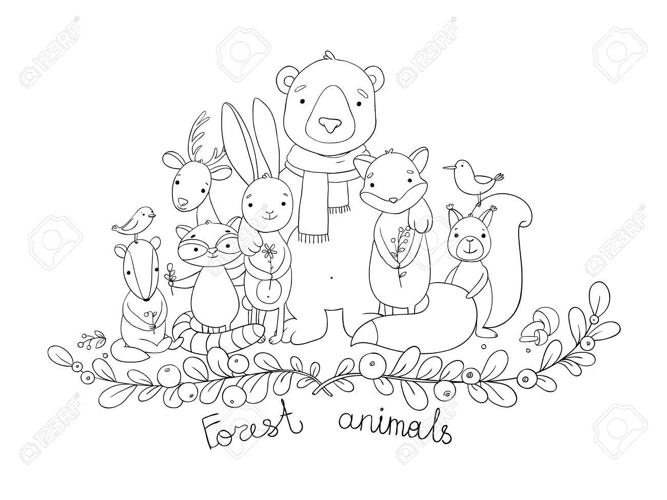 1300x975 Forest Animals. Hand Drawing Isolated Objects On White Background