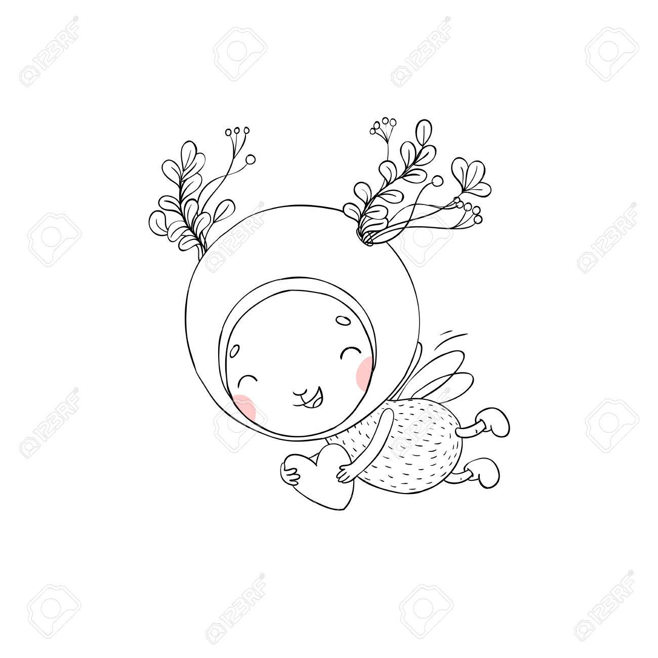1300x1300 Forest Fairy Hand Drawing Isolated Objects On White Background