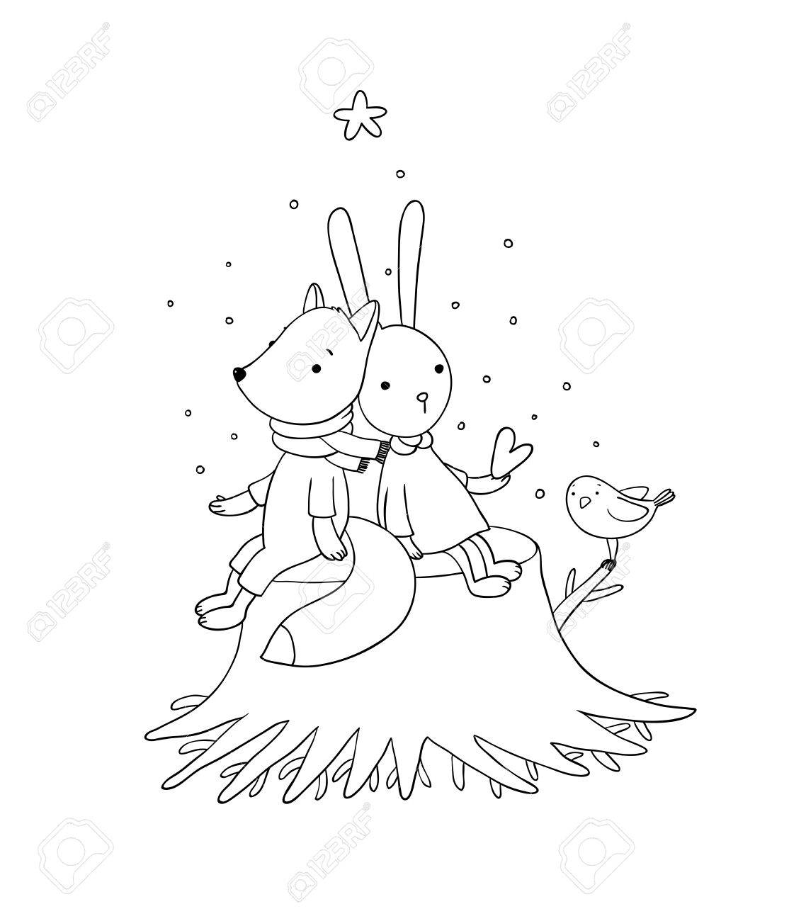 Coloring Book Vector 1114x1300 Fox Rabbit And Bird Sitting On A Tree Stump Animals Of The