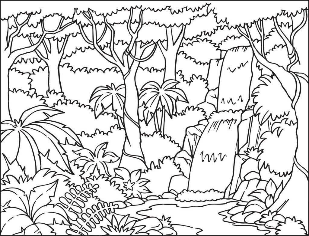 1024x780 Jungle Background Coloring Page With Beautiful Waterfall Also