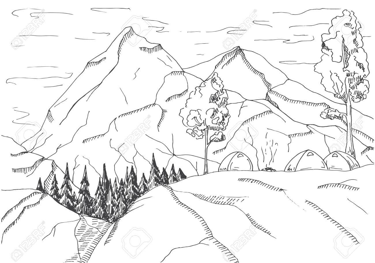 1300x911 Mountain Landscape. Tents And A Bonfire On The Background