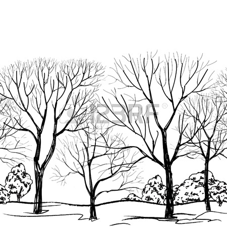 450x450 Tree Without Leaves Seamless Border Forest Seamless Background