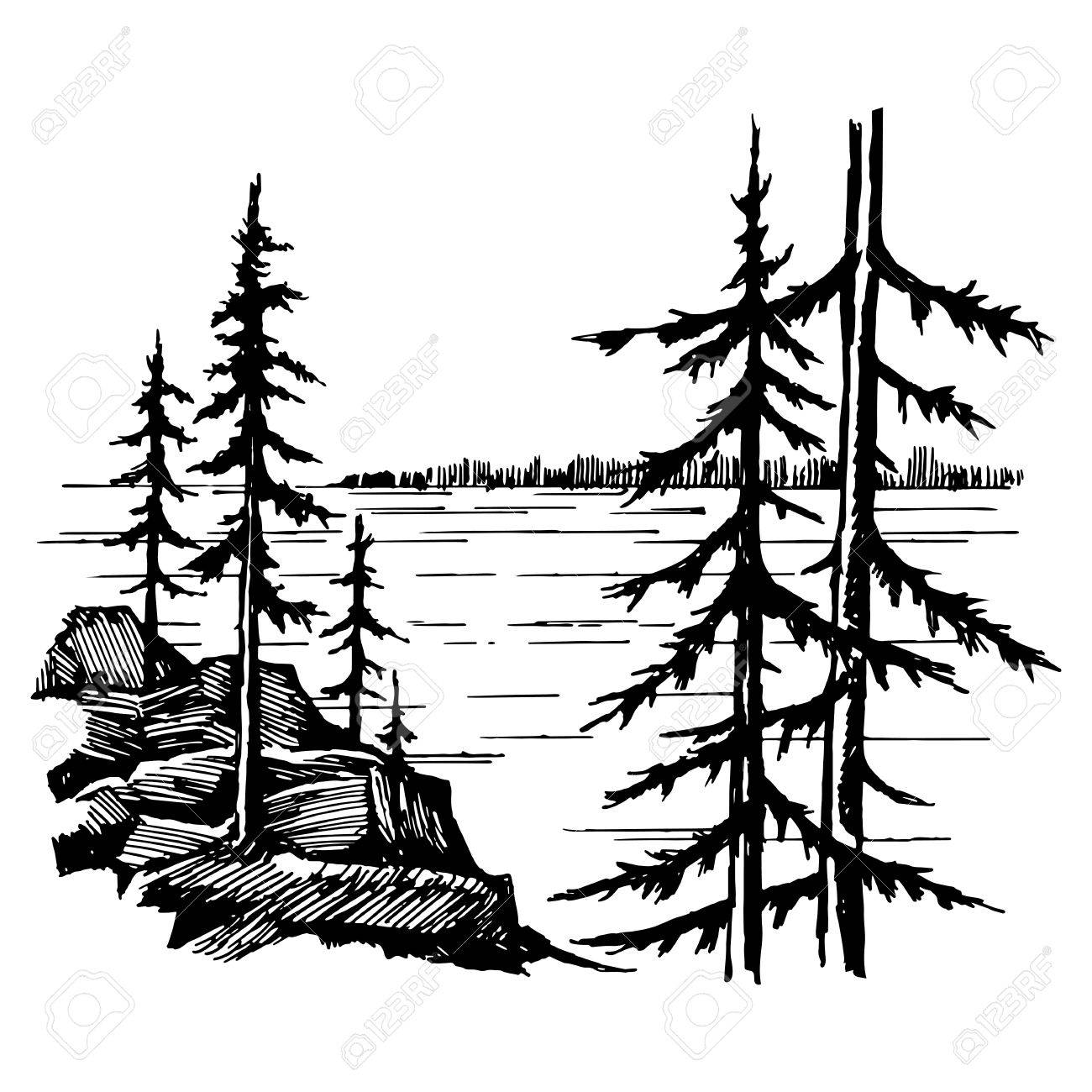 1300x1300 Landscape With Lake And Spruce Fores Royalty Free Cliparts