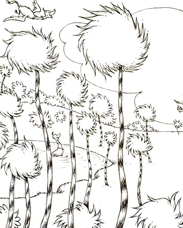 600x750 The Lorax Truffula Tree Forest Coloring Pages Sun