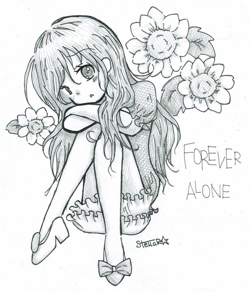 825x969 Forever Alone Sketch By Mint Cocoa
