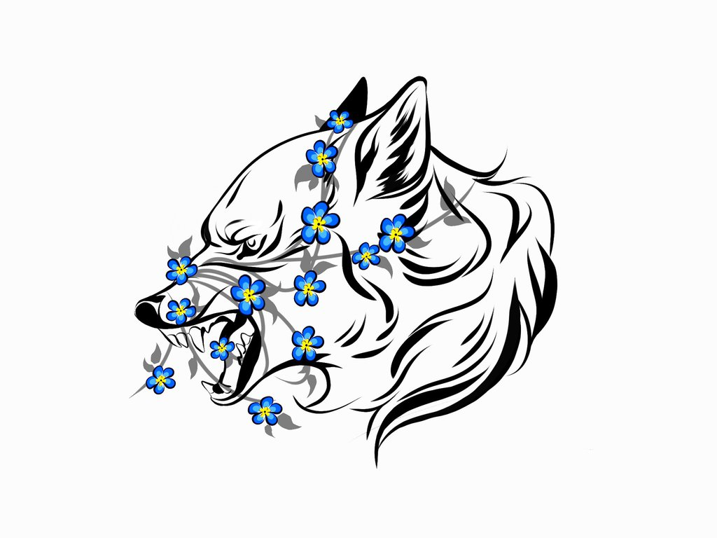1024x768 Tatoo With A Wolf And Forget Me Not Flowers By Hi Ku