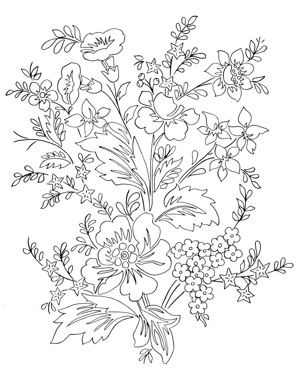 1272x1600 Forget Me Not Flowers Sketch Coloring Page View Larger Image