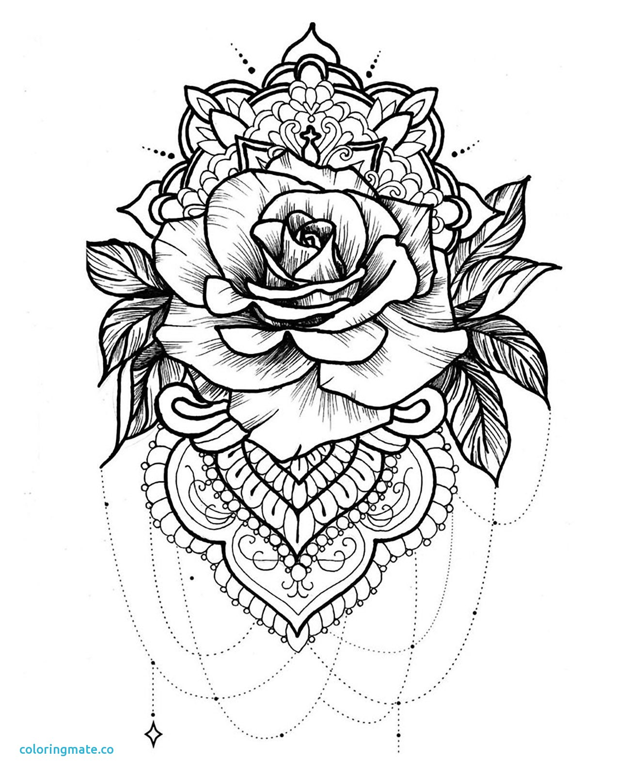 1300x1602 Coloriage Mandala Rose Fresh Roses And Forget Me Nots Mandala