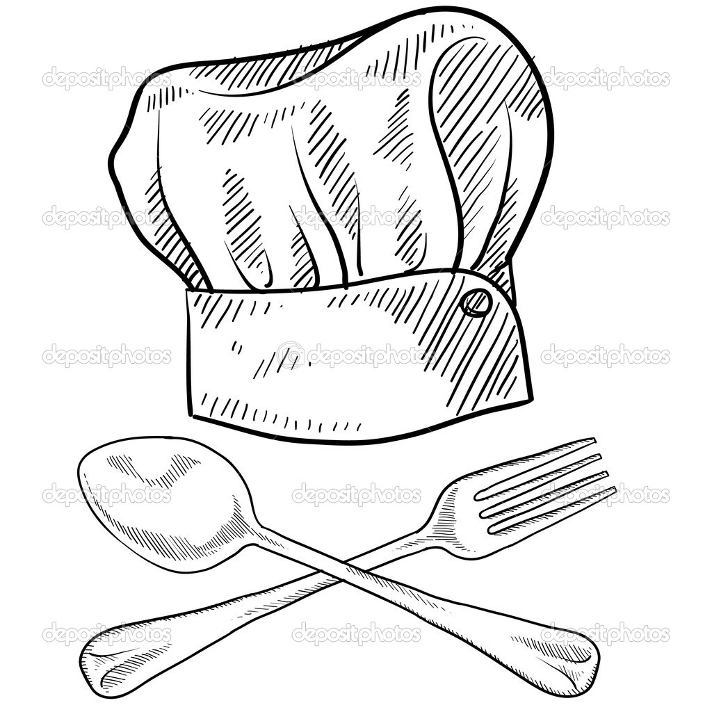 1024x1024 Drawing Of A Chef Hat Chef Cook Hat With Fork, Spoon And Knife