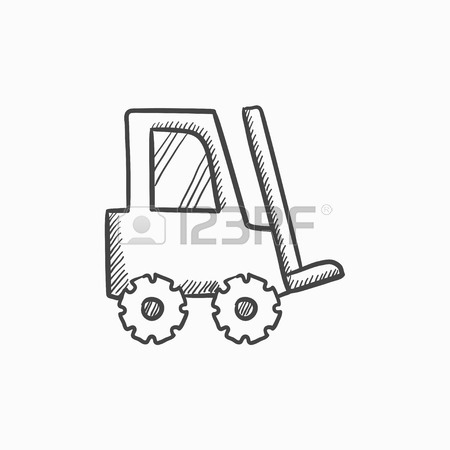 450x450 Forklift Vector Sketch Icon Isolated On Background. Hand Drawn