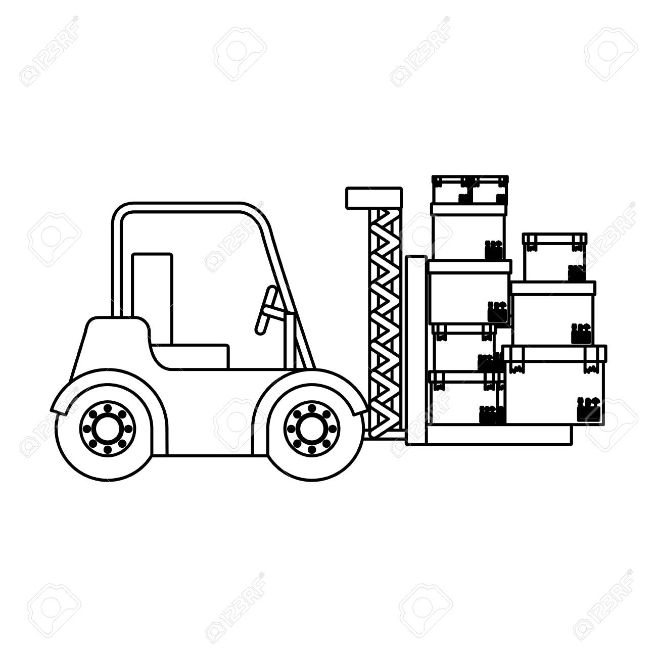1300x1300 Black Silhouette Contour Forklift Truck With Forks With Boxes