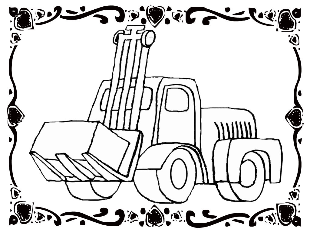1024x768 Car Coloring Forklift Realistic Coloring Pages