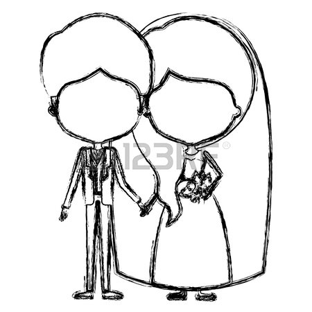450x450 Silhouette Caricature Newly Married Couple Groom With Formal