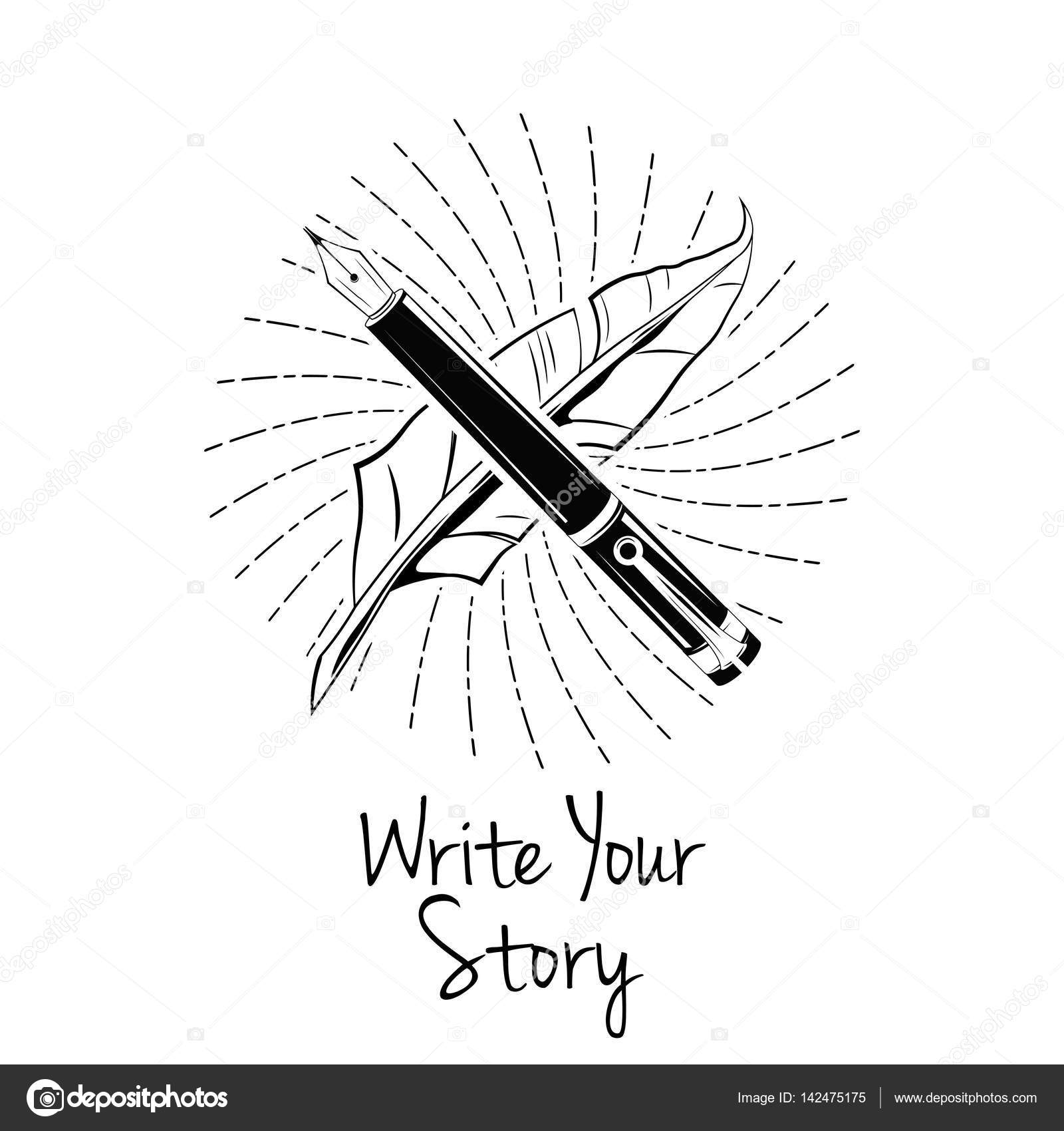 1600x1700 Fountain Pen. Write Your Story. Writer Badge. Vectorillustration