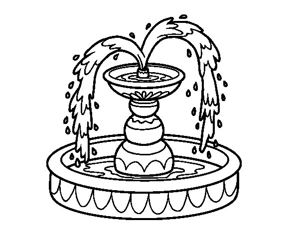 600x470 Fountain Coloring Page