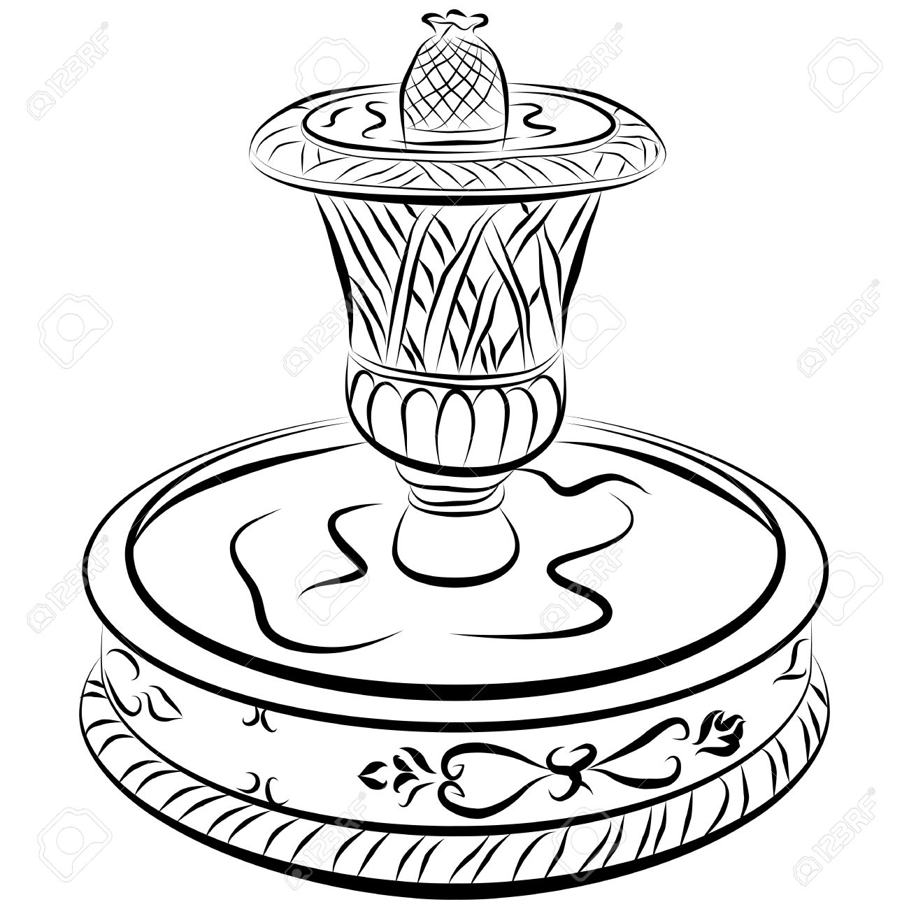 1300x1300 An Image Of A Victoriam Water Fountain Line Drawing. Royalty Free