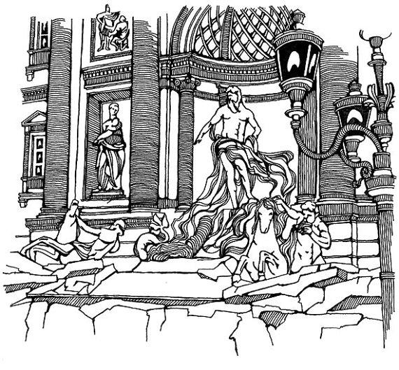 570x529 Trevi Fountain Sketch, Rome