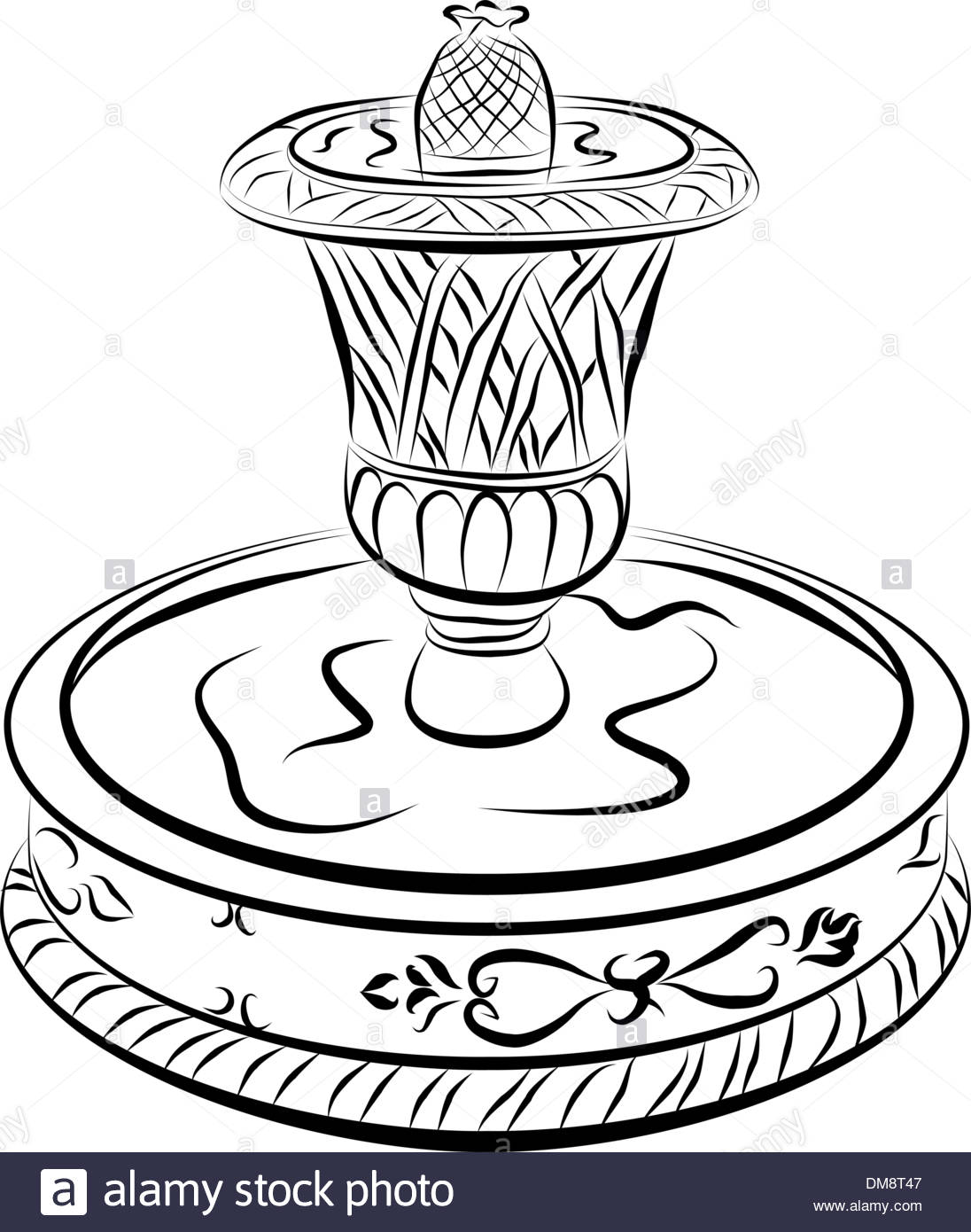 1096x1390 Victorian Water Fountain Line Drawing Stock Vector Art