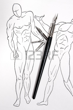 300x450 Fountain Pen With Original Drawing On Background. Fountain Pen