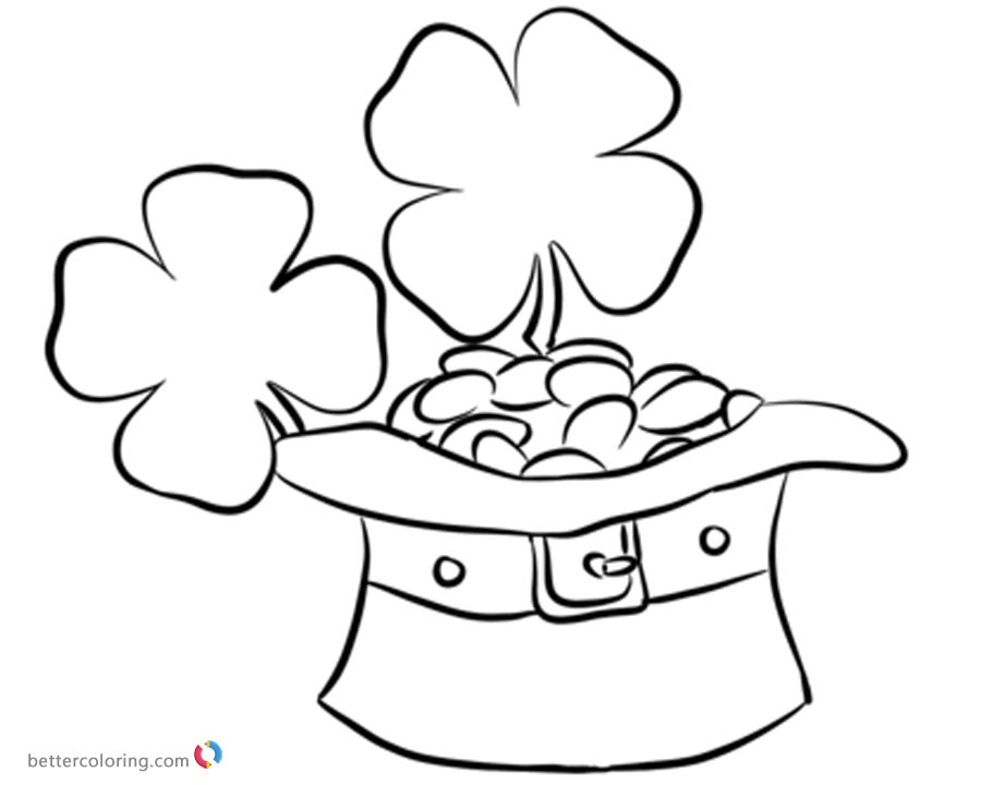 900x720 Four Leaf Clover Coloring Pages With Leprechaun Hat And Coins