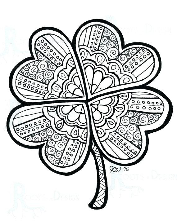570x713 Four Leaf Clover Coloring Sheet Coloring Pages For Kids Four Leaf