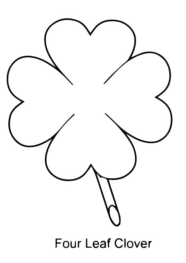 595x842 Four Leaf Clover Coloring Sheet Pin Clover Shamrock 6 Three Leaf