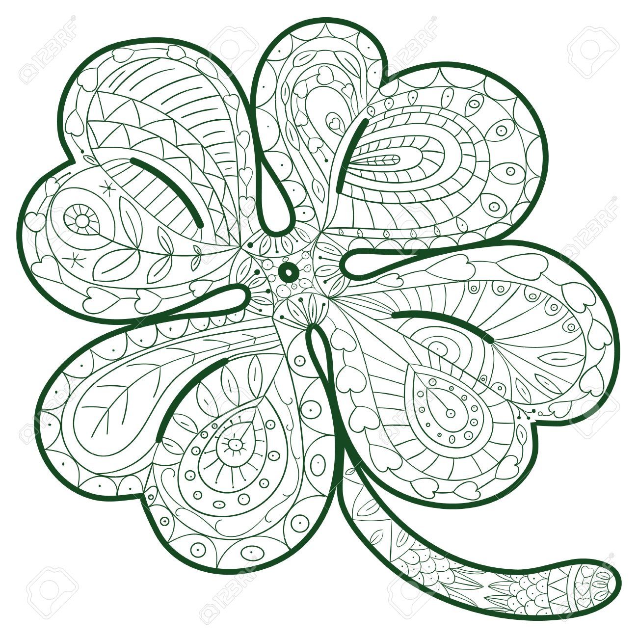 1300x1300 Hand Drawn Four Leaf Clover For Adult Coloring Pages In Doodle