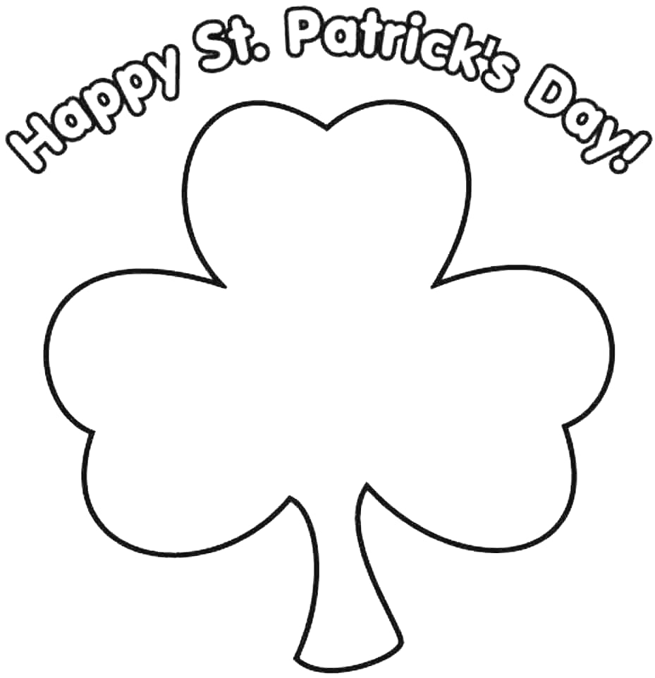 929x961 Happy 4 Leaf Clover Coloring Page Ideas For You