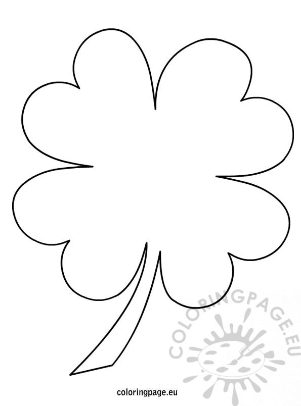 595x804 4 Leaf Clover Coloring Page