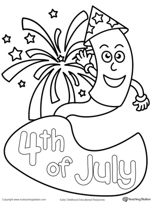 300x400 4th Of July Fireworks Coloring Page