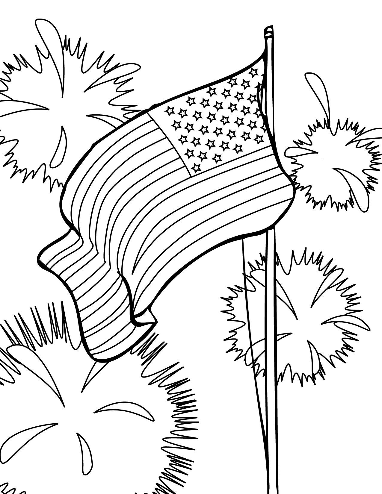 1275x1650 Fourth Of July (Usa) Coloring Pages For Preschool, Kindergarten