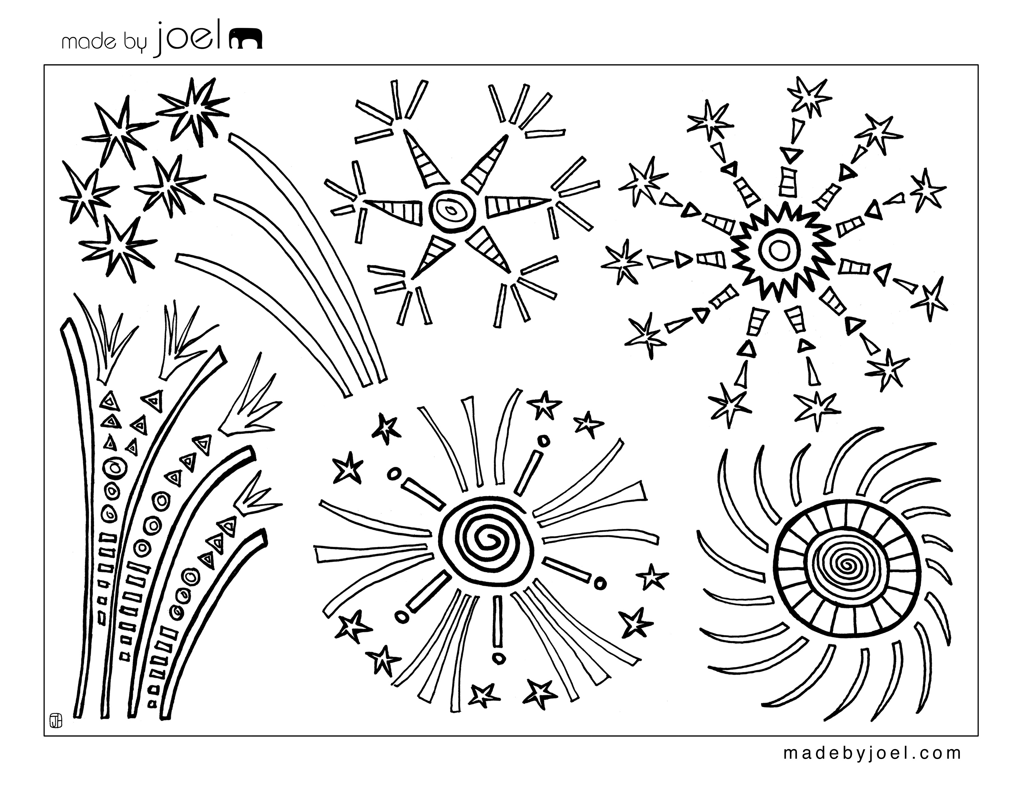 3300x2550 Made By Joel 4th Of July Fireworks Coloring Sheet