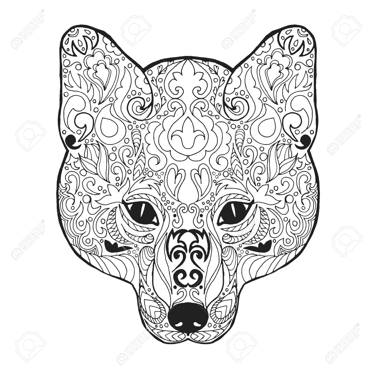 1300x1300 Fox Head. Adult Antistress Coloring Page. Black White Hand Drawn