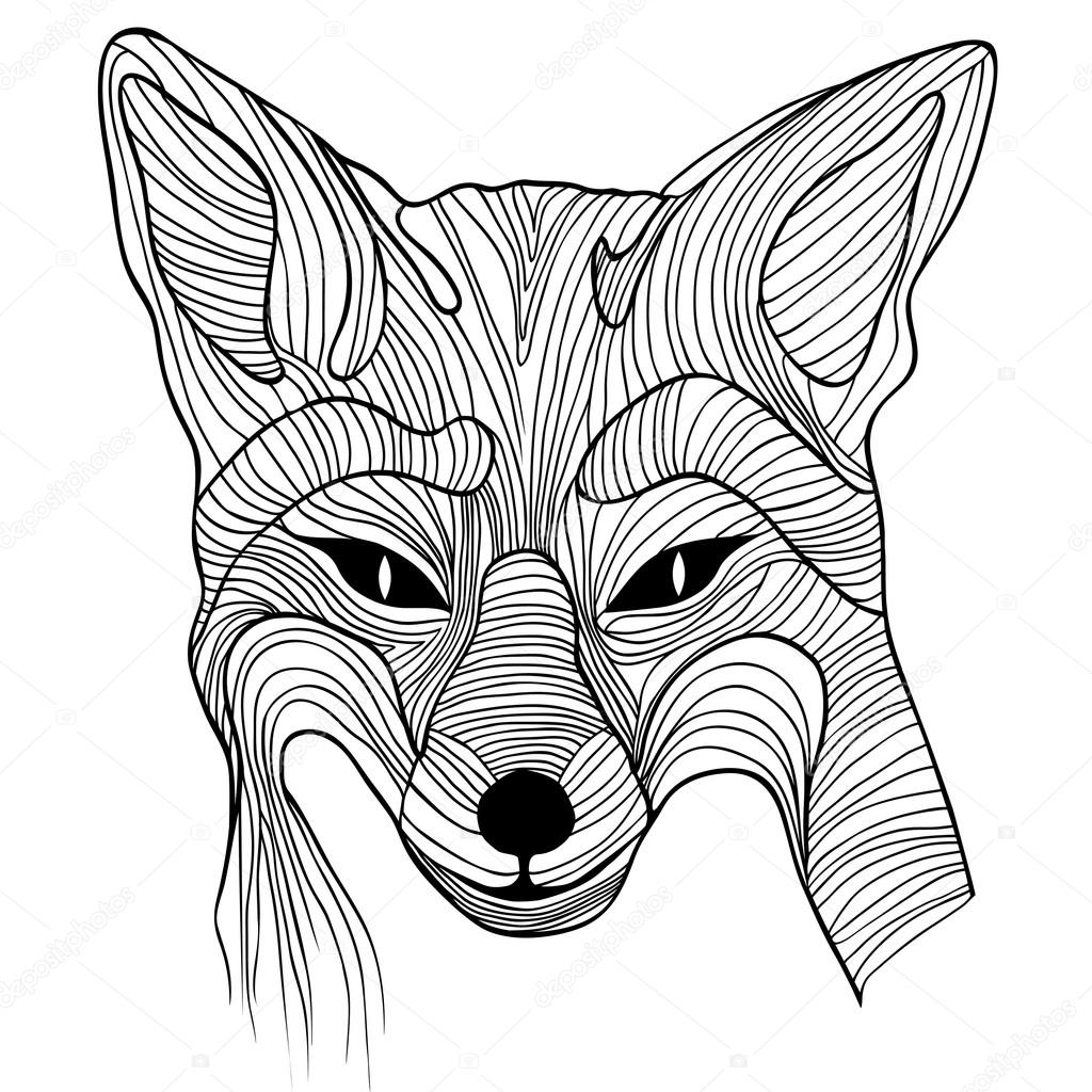 1024x1024 Fox Animal Sketch Symbol Stock Vector Svetap
