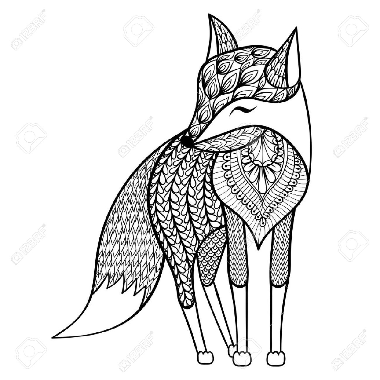 1300x1300 Zentangle Vector Happy Fox For Adult Anti Stress Coloring Pages
